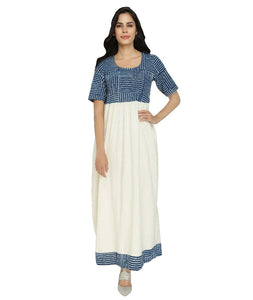 Summer Barn - Indigo & Handloom Cotton Resort Dress - Front View