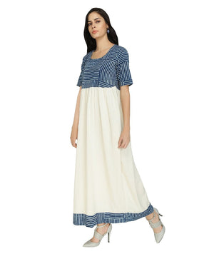 Summer Barn - Indigo & Handloom Cotton Resort Dress - Left View