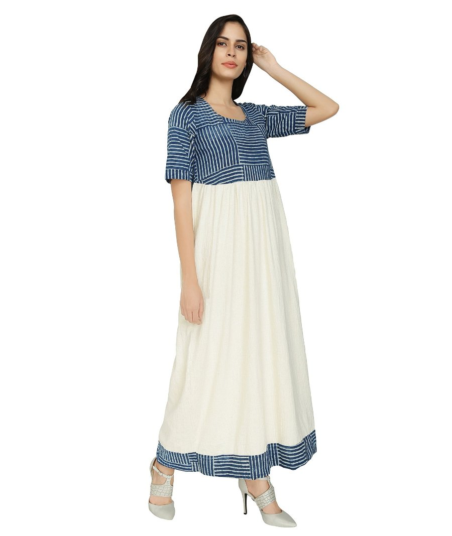 Summer Barn - Indigo and Handloom Cotton Resort Dress - Right View