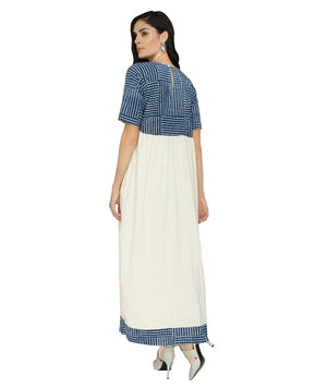 Summer Barn - Indigo and Handloom Cotton Resort Dress - Back View