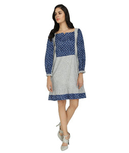 Summer Barn - Grey Handloom & Indigo Summer Dress - Front View