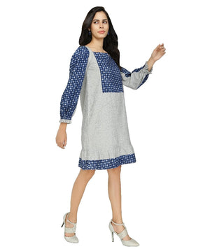 Summer Barn - Grey Handloom & Indigo Summer Dress - Right View