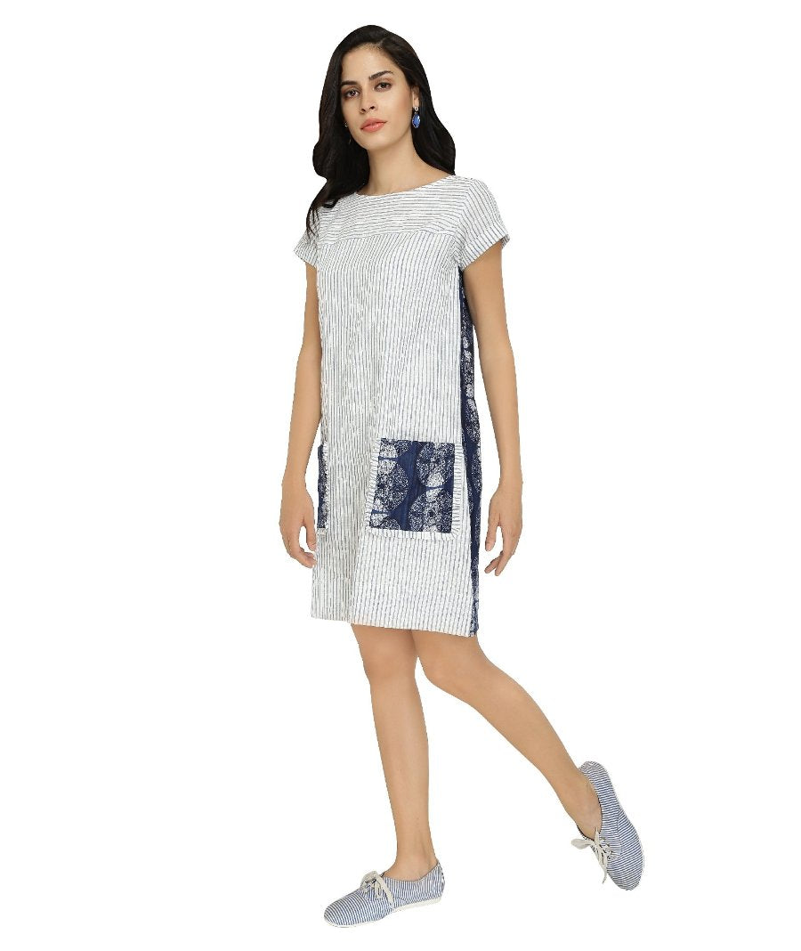 Summer Barn - Striped Indigo Shift Dress - Left View