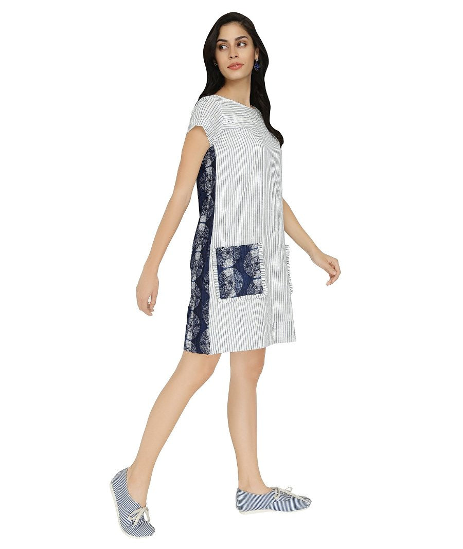Summer Barn - Striped Indigo Shift Dress - Right View