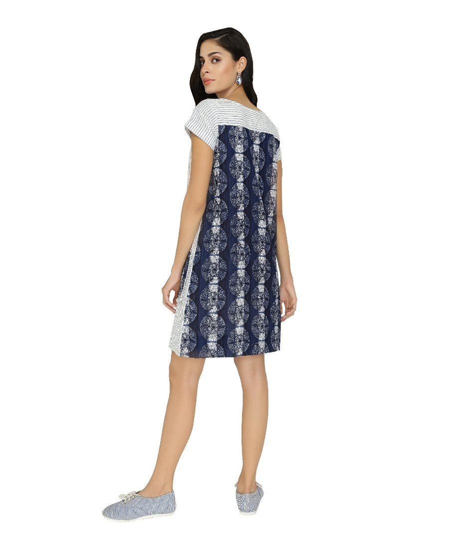 Summer Barn - Striped Indigo Shift Dress - Back View