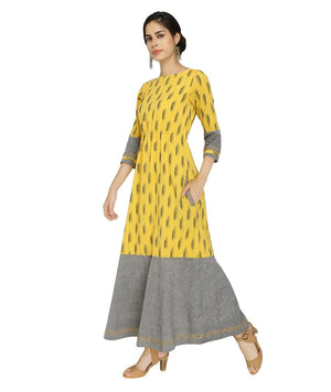 Summer Barn - Yellow Grey Ikat Resort Dress