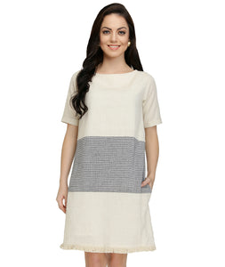 Summer Barn - Off White and Grey Checks Colour Block Handloom Dress