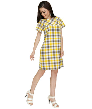 SB56 - Grey Yellow Gingham Checked Summer Dress