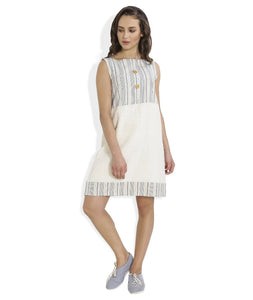 Summer Barn - Blue Striped Shift Dress - Front View