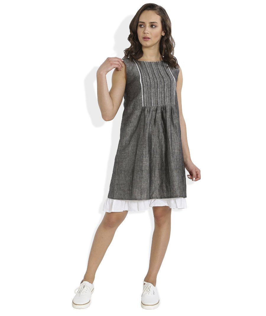 Summer Barn - Grey Shift Dress with Lace and Embroidery - Front View