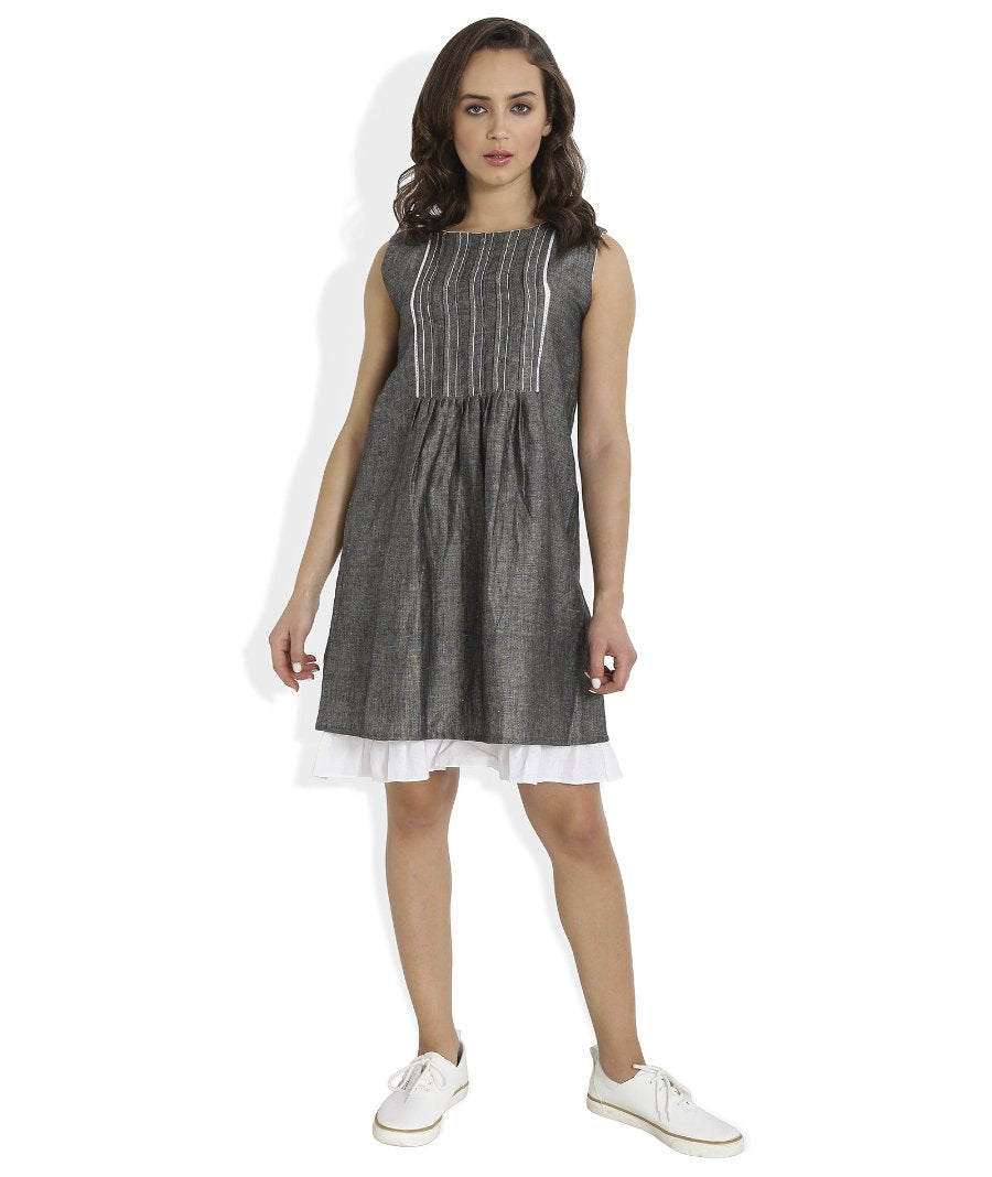 Summer Barn - Grey Shift Dress with Lace and Embroidery - Frontal View