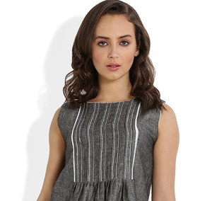 Summer Barn - Grey Shift Dress with Lace and Embroidery - Lace & Embroidery