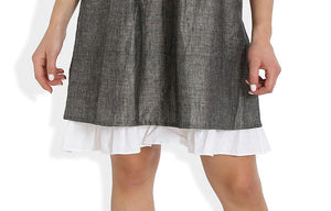 Summer Barn - Grey Shift Dress with Lace and Embroidery - Hemline