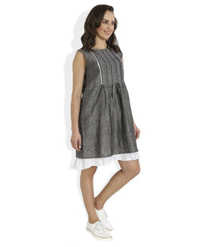 Summer Barn - Grey Shift Dress with Lace and Embroidery - Right View