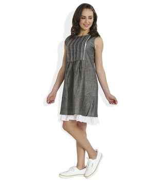 Summer Barn - Grey Shift Dress with Lace and Embroidery - Left View