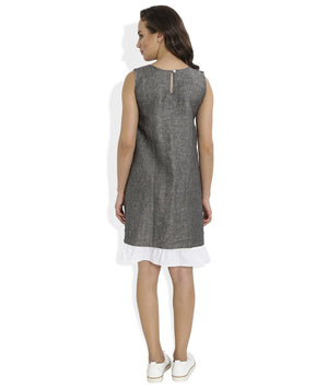 Summer Barn - Grey Shift Dress with Lace and Embroidery - Back View