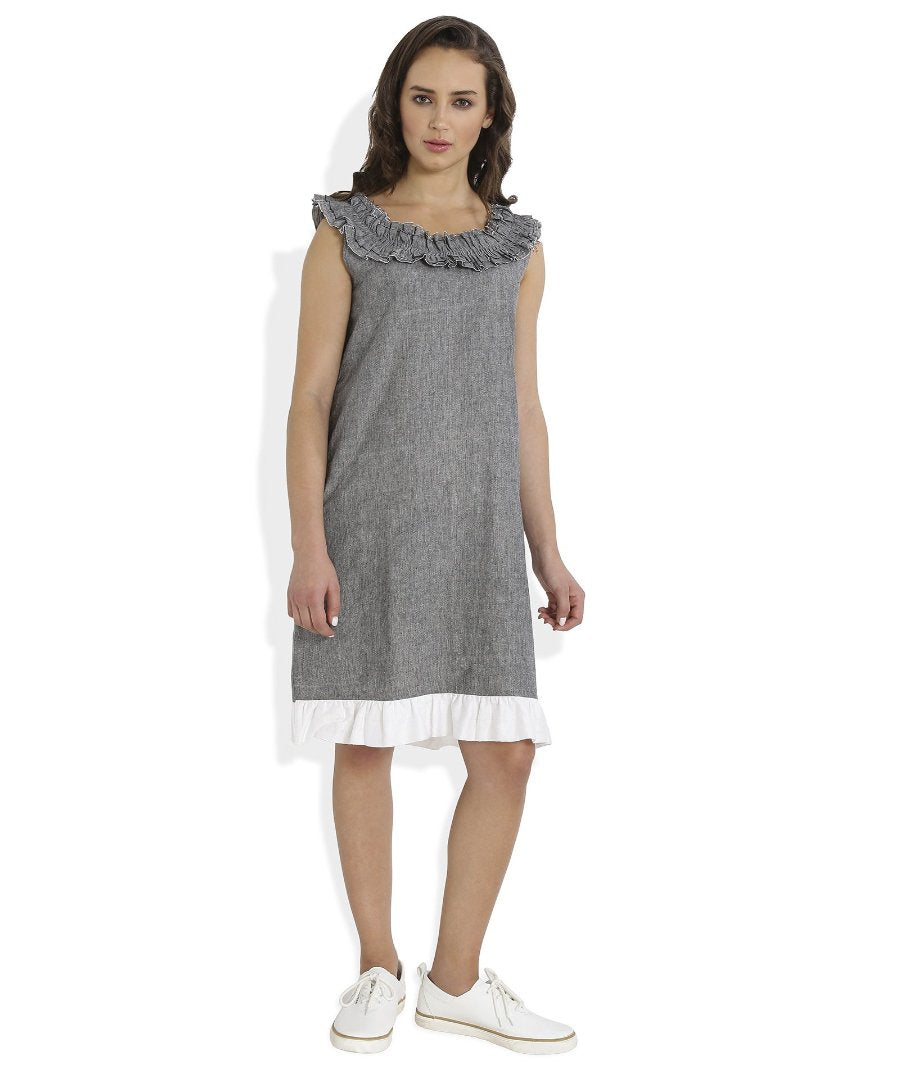 Summer Barn - Frilled Neckline Handloom Cotton Dress - Front View