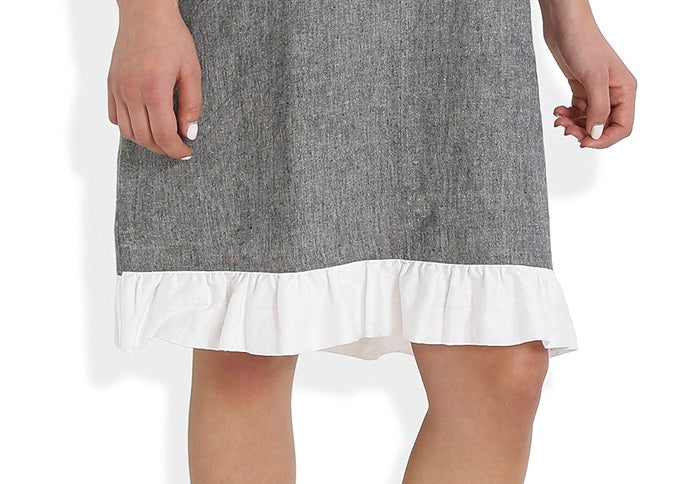 Summer Barn - Frilled Neckline Handloom Cotton Dress - Hemline