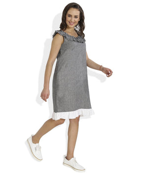 Summer Barn - Frilled Neckline Handloom Cotton Dress - Side View