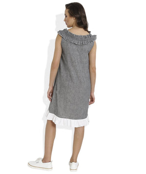 Summer Barn - Frilled Neckline Handloom Cotton Dress - Back View
