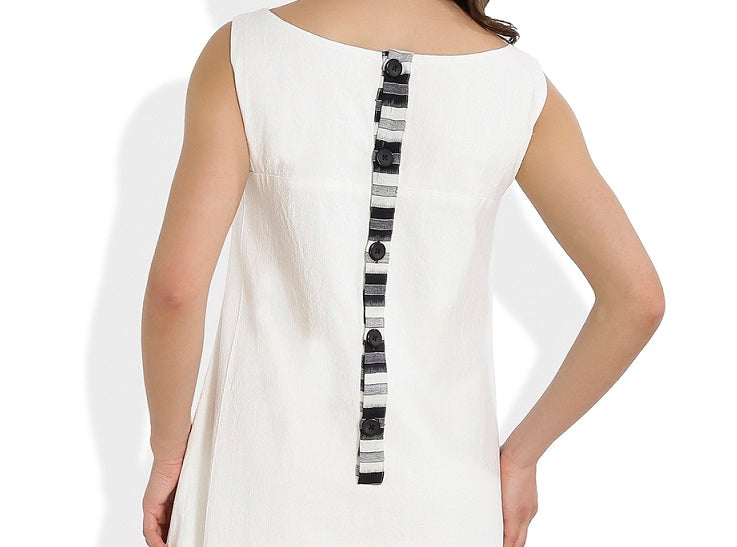 Summer Barn - Ikat Pocket Handloom Dress - Button Strip