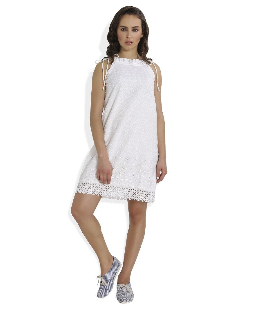 Summer Barn - White Broderie Anglaise Strappy Beach Dress - Front View