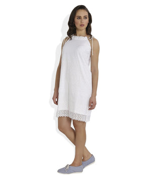 Summer Barn - White Broderie Anglaise Strappy Beach Dress - Left View