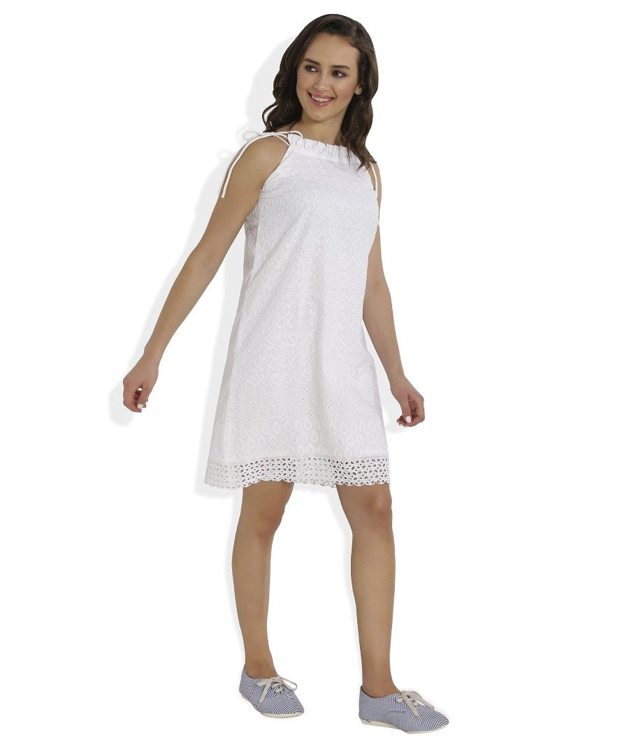 Summer Barn - White Broderie Anglaise Strappy Beach Dress - Right View