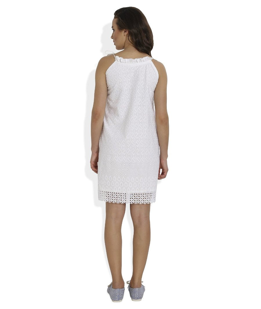 Summer Barn - White Broderie Anglaise Strappy Beach Dress - Back View