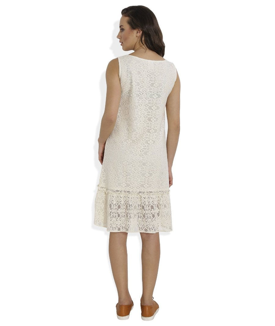 Summer Barn - Crochet Drop Waist Beach Dress - Back View