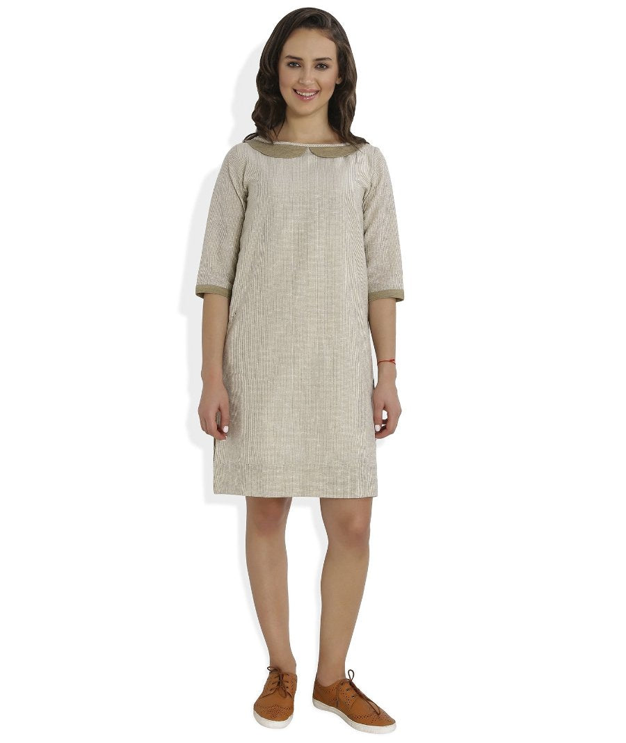 Summer Barn - Handloom Checkered Dress with Box Pleats behind - Front View