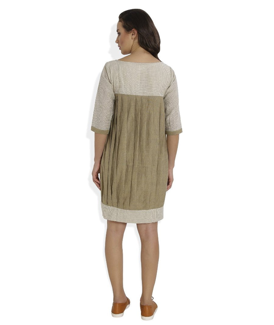 Summer Barn - Handloom Checkered Dress with Box Pleats behind - Back View