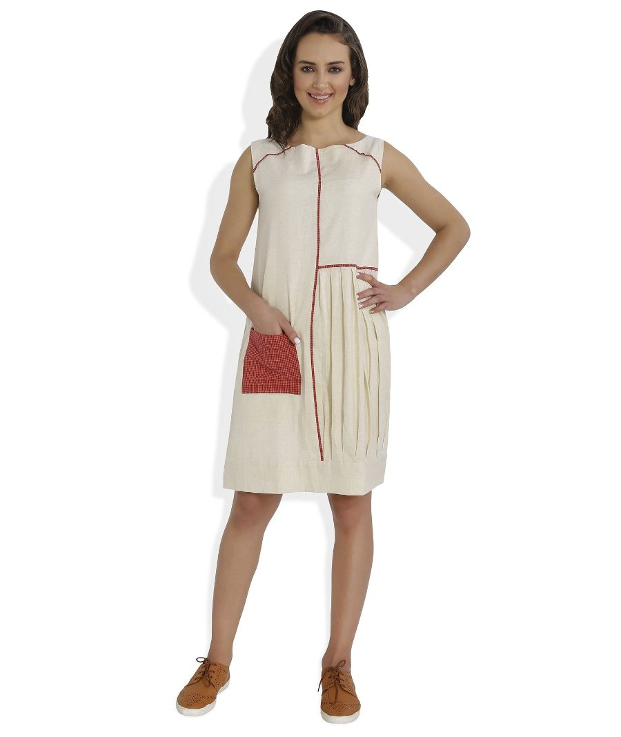 Summer Barn - The Straight and Pleated Handloom Dress - Front View