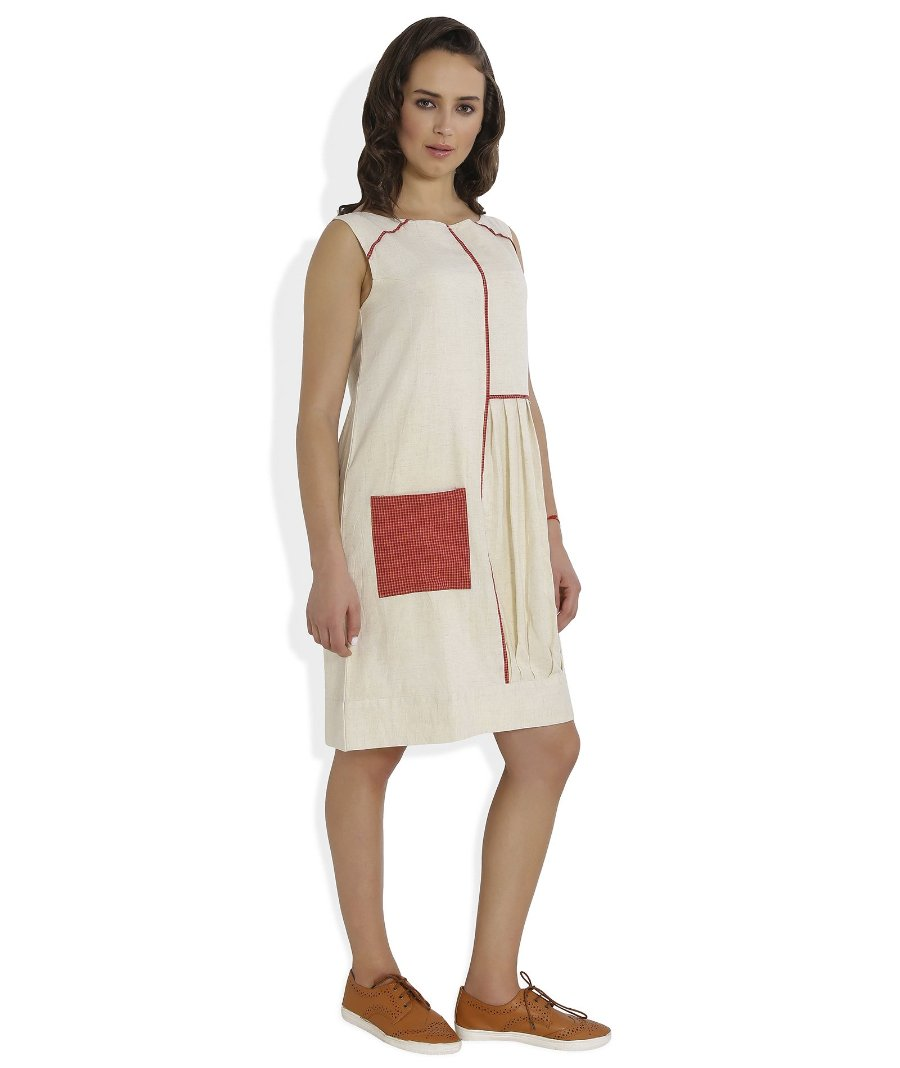 Summer Barn - The Straight and Pleated Handloom Dress - Right View