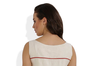 Summer Barn - The Straight and Pleated Handloom Dress - Back Yoke
