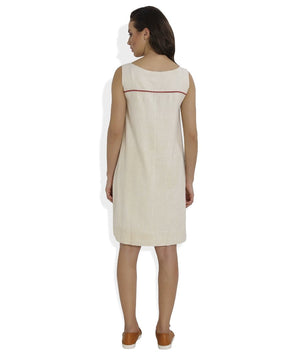 Straight and Pleated Handloom Dress