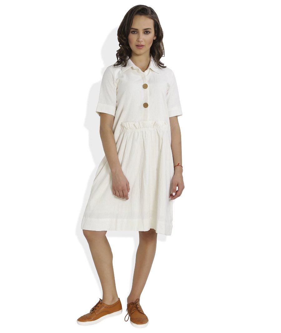 Summer Barn - Handloom Off White Ruffle Dress - Front View
