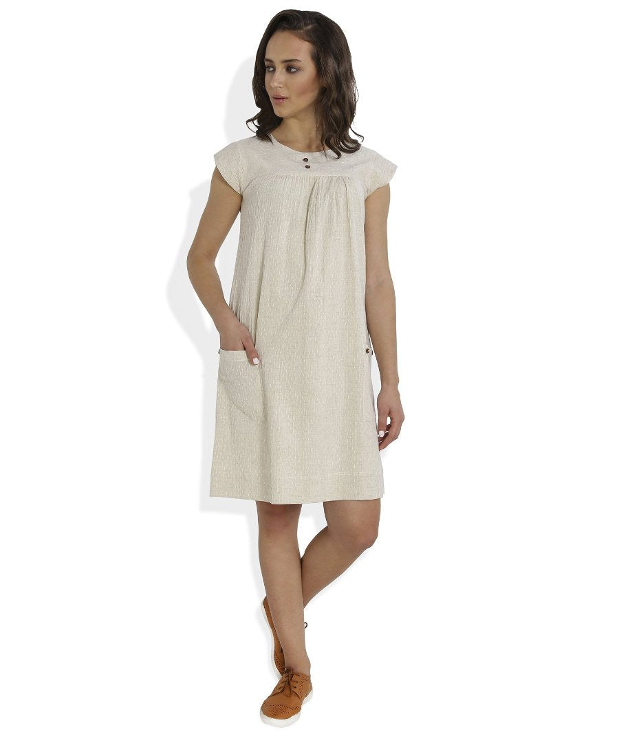 Summer Barn - Ivory Dobby Weave Summer Dress - Front View
