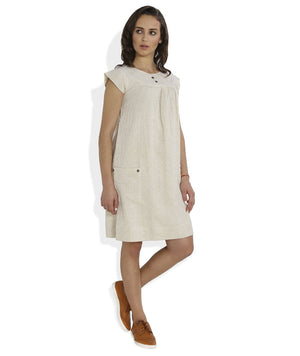 Summer Barn - Ivory Dobby Weave Summer Dress - Right View