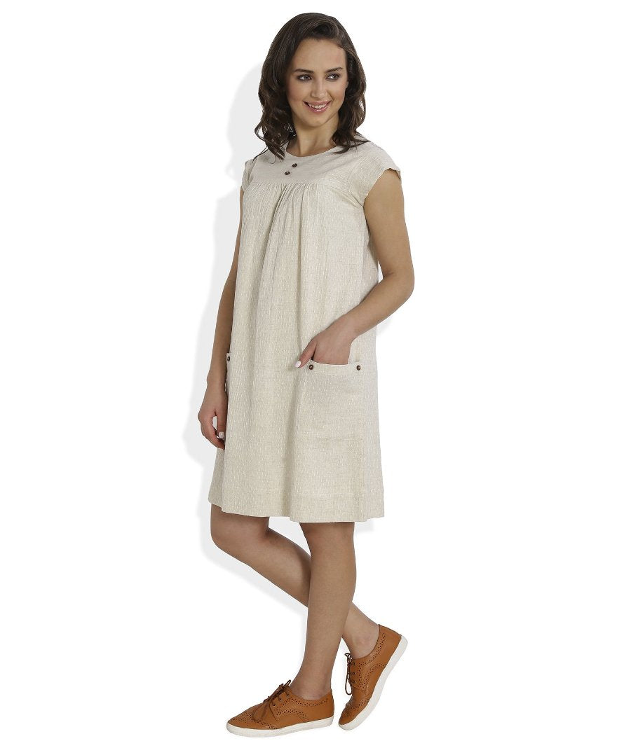 Summer Barn - Ivory Dobby Weave Summer Dress - Left View