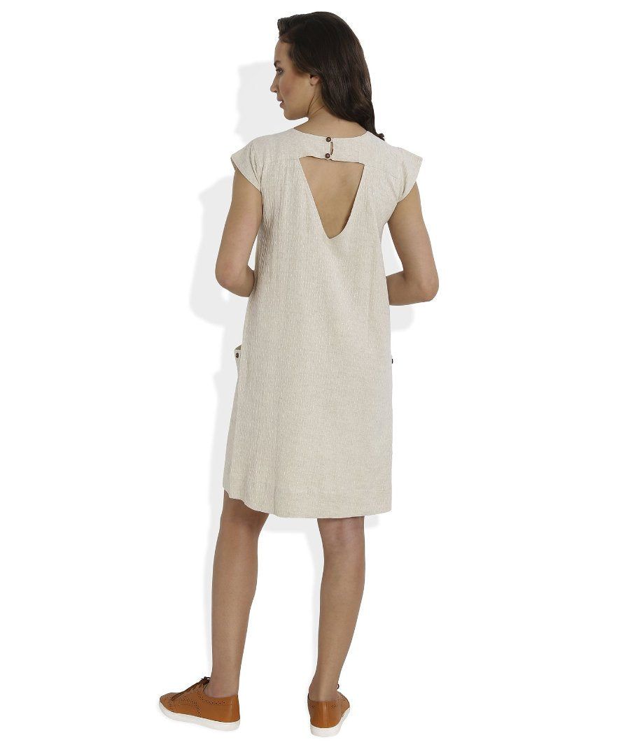 Summer Barn - Ivory Dobby Weave Summer Dress - Back View