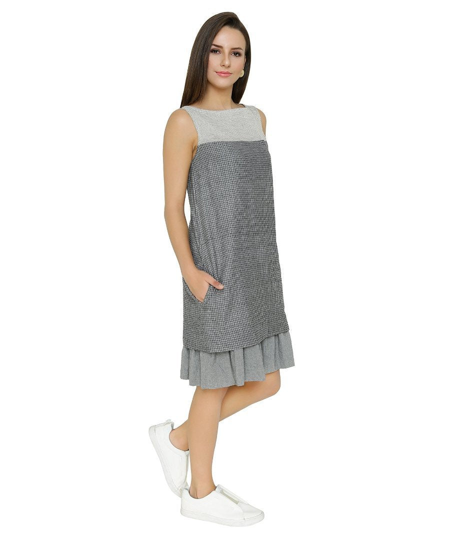 Summer Barn - Grey Trio Sleeveless Handloom Dress