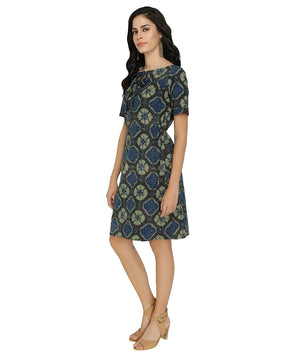 SB22 - Blue-Green Ajrak Print Cotton Dress