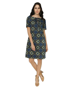 Summer Barn - Blue Green Ajrak Print Cotton Dress - Front View