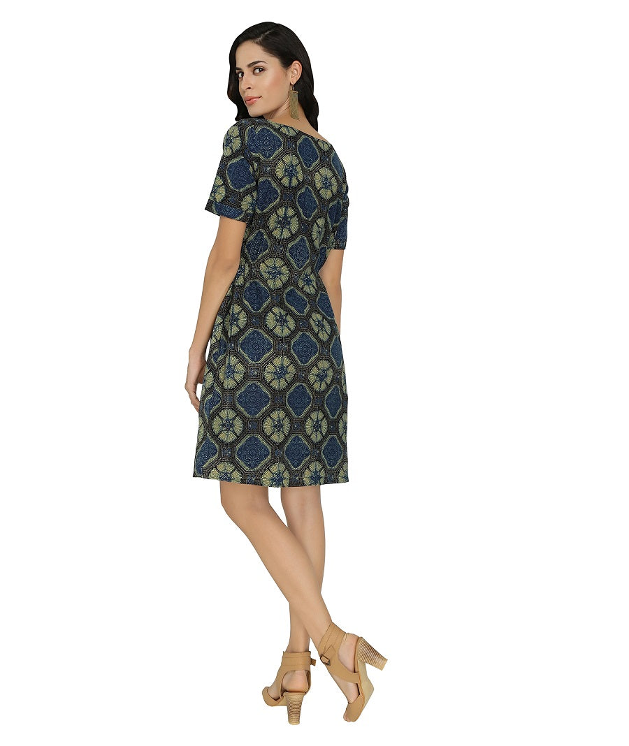 Blue-Green Ajrak Print Cotton Dress