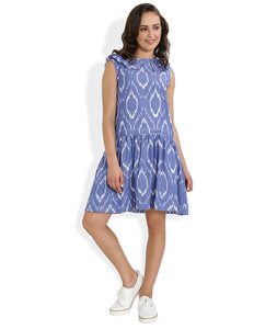 Summer Barn - Blue Handwoven Ikat Sleeveless Dress for Women - Front View