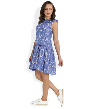 Summer Barn - Blue Handwoven Ikat Sleeveless Dress for Women - Left View
