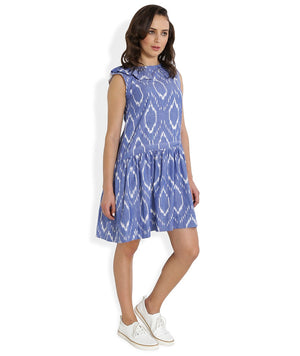 Summer Barn - Blue Handwoven Ikat Sleeveless Dress for Women - Right View