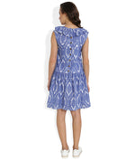 Summer Barn - Blue Handwoven Ikat Sleeveless Dress for Women - Back View