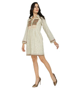 Summer Barn - Handloom Checkered Dress with Ikat and Embroidery - Left View